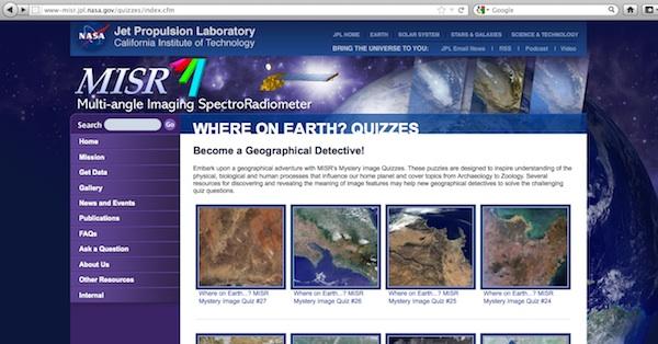 Juego online de geografía del Jet Propulsion Laboratory